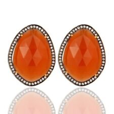 Gold Plated 925 Sterling Silver Peach Moonstone CZ Stud Earrings Birthday Gift