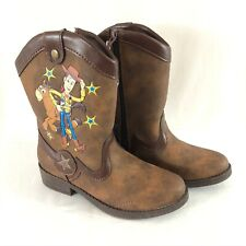 Toy Story Toddler Boys Western Boots Faux Leather Slip On Woody Brown Size 11