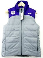 New Nike Womens M Purple Clemson University Tigers Full Zip Training Puffer Vest