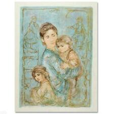 """Edna Hibel """"Sonya And Family (5)"""" Hand Signed Limited Edition Lithograph Art"""