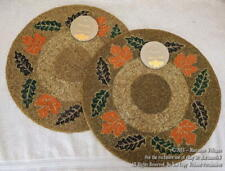 2 New Autumn Hill Fall Thanksgiving Beaded Placemat Charger w Leaf Motif Leaves