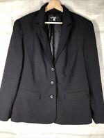 Apt 9 Black 20W pinstripe jacket blazer lined 3 button close