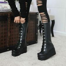 Women's Punk Wedge Heel Platform Shoes Goth Lace Up Biker Mid Calf Boots Cosplay