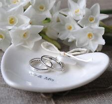 East of India Mr & Mrs White Porcelain Heart Ring Dish Wedding Gift