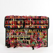 $795 Alexander McQueen Tweed Fabric/Leather Clutch Bag w/Skull 358701 8495