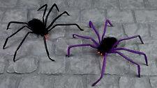 Halloween à Piles Noir Poilu Corps Araignée W/ Allumer Rouge Clignotante Yeux