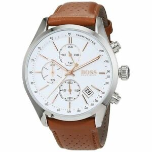 Hugo Boss HB1513475 Grand Prix Brown Leather Men's Chronograph Watch + Gift Bag