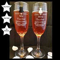 Personalised Champagne Flute Glasses MR and MRS, Wedding Present or Gift