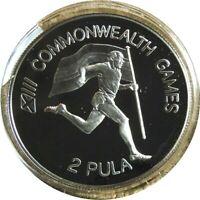 elf Botswana 2 Pula 1986 Silver Proof Commonwealth Games Runner Flag