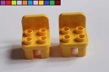 LEGO DUPLO - 2 x chaise chaises - Jaune - Meuble - Maison de poupée