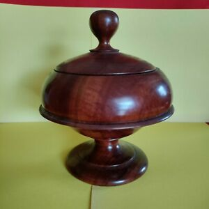 """Lidded Wood Carved Bowl Cocobolo Nicaragua 7.5"""" x 7"""" (never used)"""