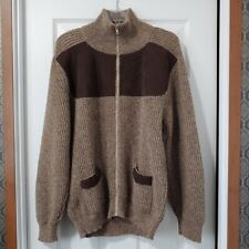 Harley M Tan Brown Scottish Wool Full Zip Elbow Patch Cardigan Sweater