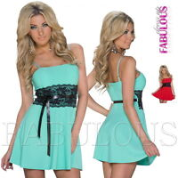 New Sexy European Padded Lace Mini Dress Casual Party Summer Size 6 8 10 XS S M