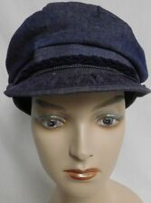 PERCY FITZGERALD GREEK FISHERMANS CAP CAPTAINS CAP  COTTON BLUE DENIM SZ M