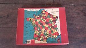 PUZZLE ANCIEN CARTE DE FRANCE / COMPLET / BOITE D'ORIGINE / ANNÉES 50