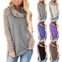 Womens Long Sleeve Turtleneck Leopard Raglan T Shirt Blouse Sweater Casual Tops