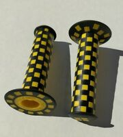 Old school BMX bicycle checked checkerboard bike grips - 125mm - BLACK & YELLOW