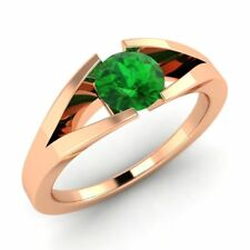 Certified 14k Rose Gold 0.42ctw FINE Natural Emerald Solitaire Engagement Ring