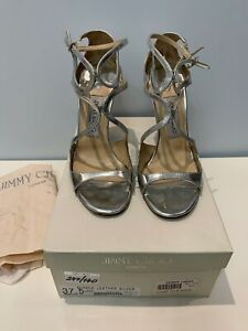 Authentic Jimmy Choo Lance Mirror Leather Silver Sandals Pumps 37 1/2
