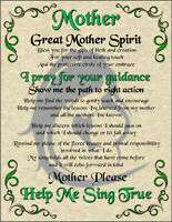Great Mother Spirit Prayer Poster Shaman Celtic Wicca Witch New Age Magic Pagan