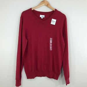 Sonoma Mens The Everyday Sweater Size M Red 100% Cotton V Neck Long Sleeve