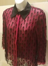 NWD Jason Wu 100% Silk Sheer Red Silk Blouse with Black Silk Lace overlay SIZE 8