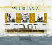 Ghana Ships Stamps 2015 MNH WWI WW1 Lusitania Boats Military & War 6v M/S