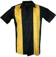 Rockabilly Fashions Men's Shirt Bowling Retro Vintage Black Yellow M-3XL