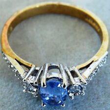 ** NEW ** 9ct Gold Ceylon Sapphire and Diamond Ring Size M 6