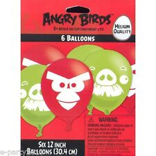 (6) ANGRY BIRDS LATEX BALLOONS ~ Birthday Party Supplies Room Decorations Helium