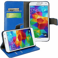 Blue Genuine Leather Card Money Wallet Phone Case Cover for Samsung Galaxy S5