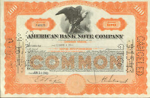 American Bank Note Company > banknote printer stock certificate share