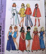 Vtg 70s Barbie Fashion Doll Clothes pattern swimsuit romper cape wrap pants