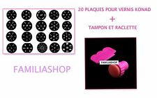 Tampon + Raclette stamping pour vernis konad ongle + 20 Plaques