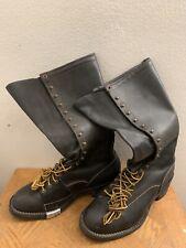 """Wesco 17"""" Highliner Black Leather Boots  Men's Size 13 D"""