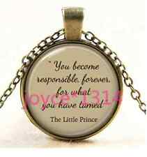 The Little Prince quote pendant. Inspirational words necklace, bronze #1402