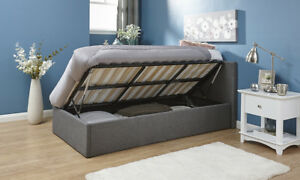 Single Ottoman Storage Bed Grey Fabric 3ft Gas Side Lift Kingston