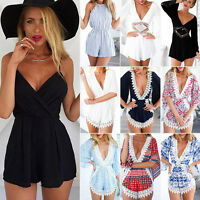 Womens Celeb Summer Shorts Beach Sun Dress Mini Playsuit Lady Jumpsuit Rompers