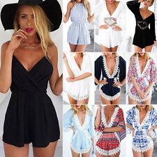 Womens Celeb Holiday Shorts Rompers Beach Dress Sundress Mini Playsuit Jumpsuit