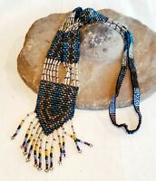 """VINTAGE NATIVE AMERICAN SEED BEAD NECKLACE 18"""" drop  Stunning"""