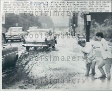 1958 Vintage Cars Drive & Pedestrians Wade Flooded St Pittsburgh PA Press Photo