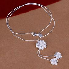 Damenhalskette Blüte Schmuck 45cm Halskette pl. mit  Sterlingsilber