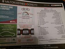 Milton Keynes Dons v Bradford City, 2017-18, teamsheet
