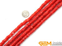 "Light Red Coral Gemstone Rondelle Spacer Disc Beads For Jewelry Making 15""Strand"