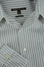 BCBG Attitude Men's Pearl Gray & Violet Scroll Fine Striped Casual Shirt L Large