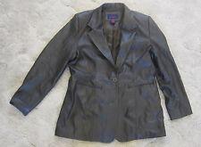 Denim & Co Brown Soft Genuine Real Leather Woman's coat Jack sz L