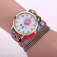 HP Womens Dream Catcher Dial PU Leather Bracelet Wrap Quartz Wristwatch Gift