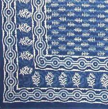 Handmade 100% Cotton Dabu Indian Tapestry Tablecloth Spread Full Indigo Blues B