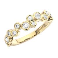 0.50 Ct Round Brilliant Cut Diamond Half Eternity Wedding Ring 18K Yellow Gold
