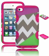 For iPod Touch 4 - Hot Pink Silicone Gel+Purple & Mint Green Chevron Hybrid Case